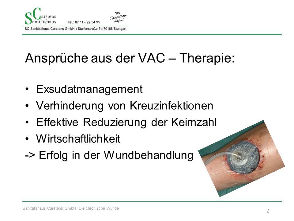 Sanitätshaus Carstens GmbH Die chronische Wunde Ansprüche aus der VAC – Therapie: Exsudatmanagement Verhinderung von Kreuzinfektionen Effektive Reduzi