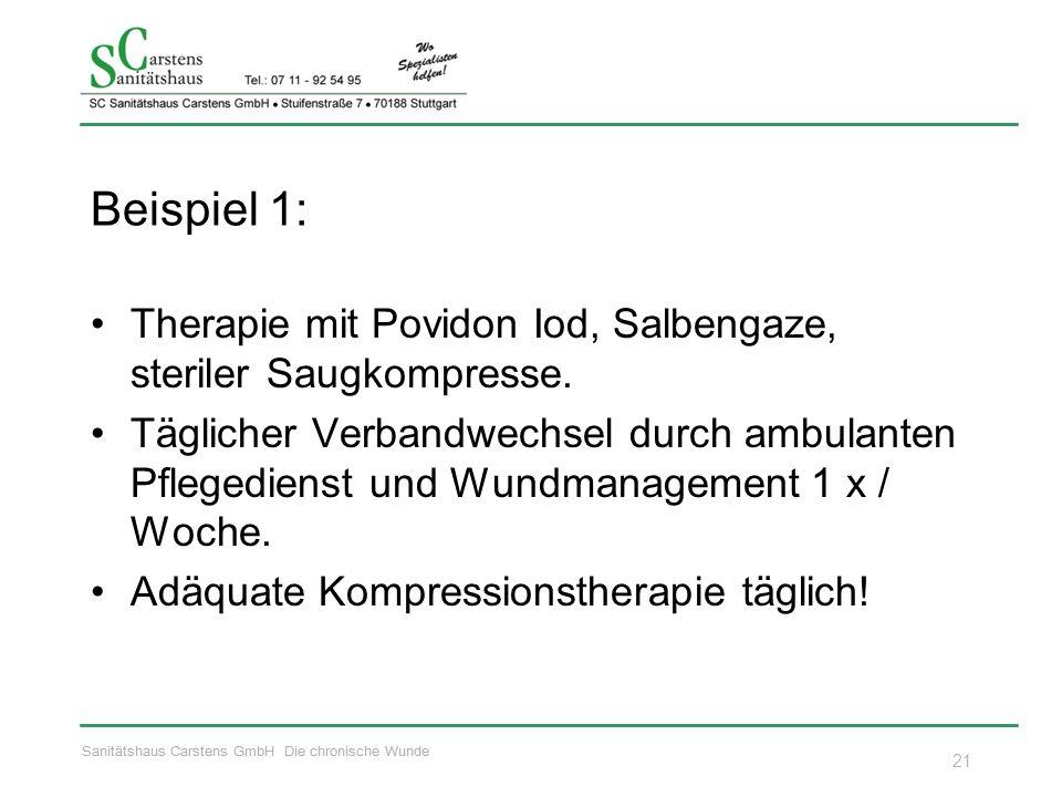 Sanitätshaus Carstens GmbH Die chronische Wunde Beispiel 1: Therapie mit Povidon Iod, Salbengaze, steriler Saugkompresse. Täglicher Verbandwechsel dur