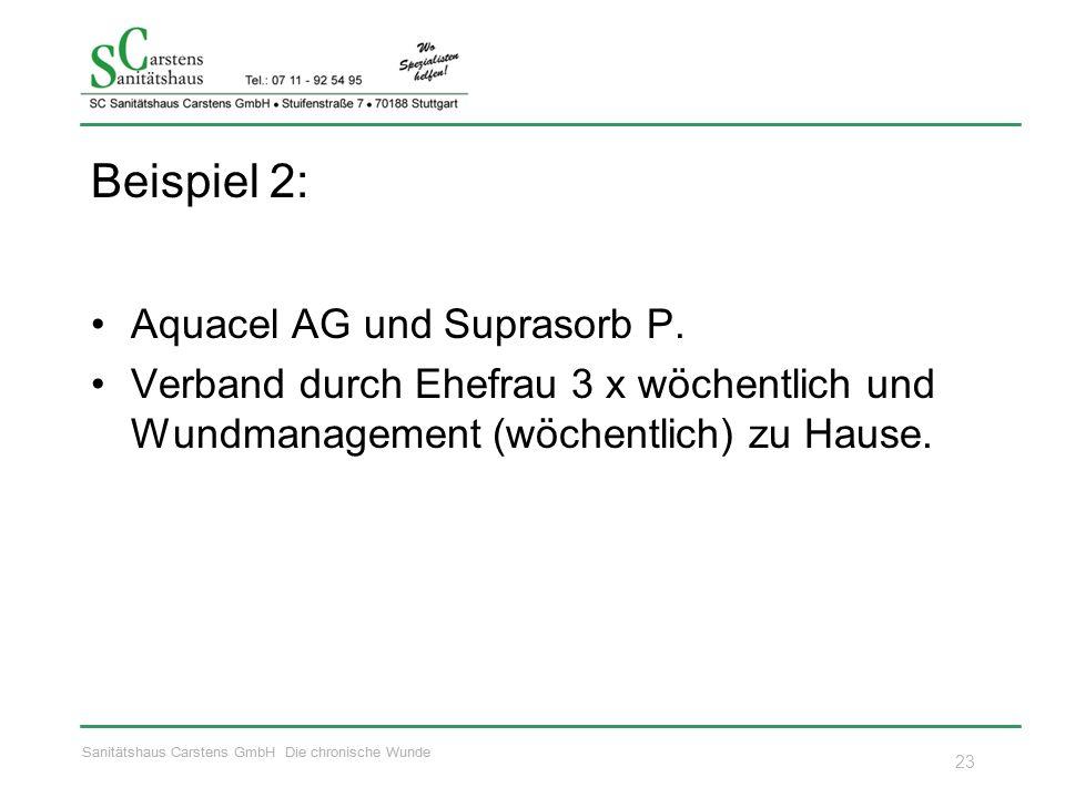 Sanitätshaus Carstens GmbH Die chronische Wunde Beispiel 2: Aquacel AG und Suprasorb P. Verband durch Ehefrau 3 x wöchentlich und Wundmanagement (wöch
