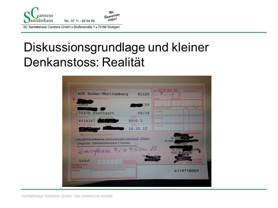 Sanitätshaus Carstens GmbH Die chronische Wunde Diskussionsgrundlage und kleiner Denkanstoss: Realität