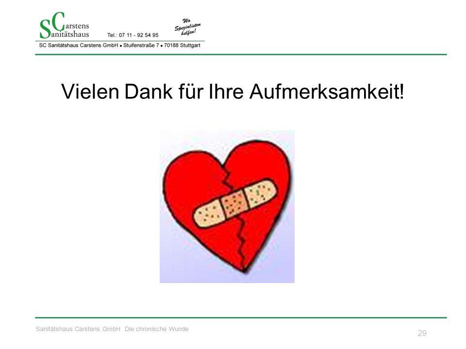 Sanitätshaus Carstens GmbH Die chronische Wunde Vielen Dank für Ihre Aufmerksamkeit! 29
