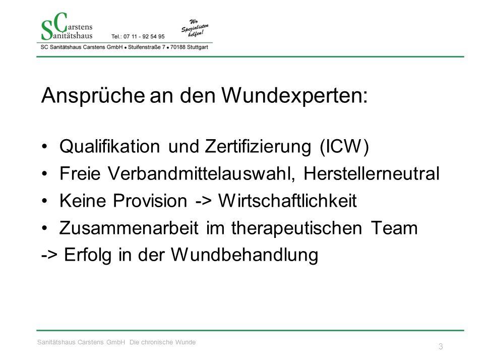 Sanitätshaus Carstens GmbH Die chronische Wunde Ansprüche an den Wundexperten: Qualifikation und Zertifizierung (ICW) Freie Verbandmittelauswahl, Hers