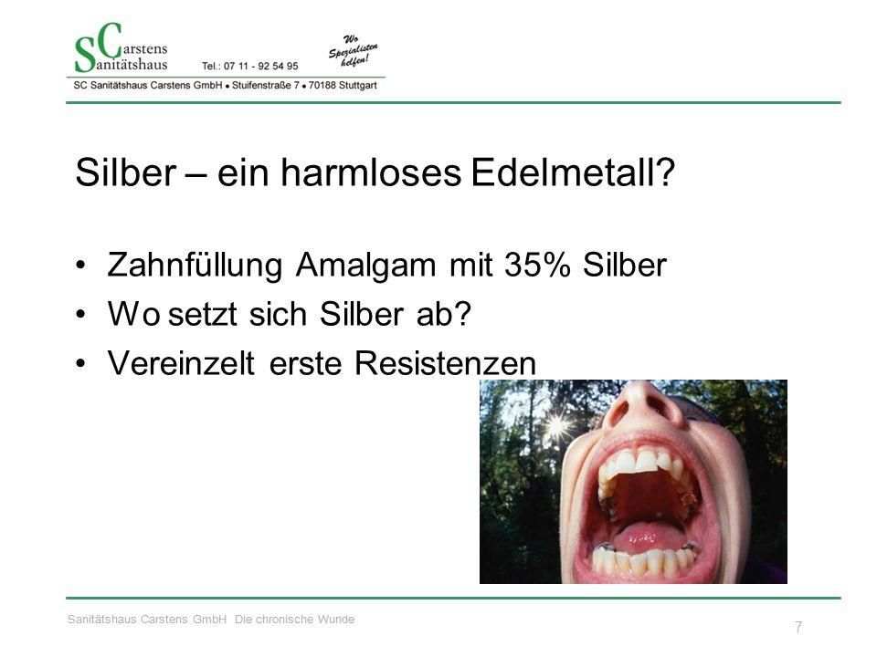 Sanitätshaus Carstens GmbH Die chronische Wunde Silber – ein harmloses Edelmetall? Zahnfüllung Amalgam mit 35% Silber Wo setzt sich Silber ab? Vereinz