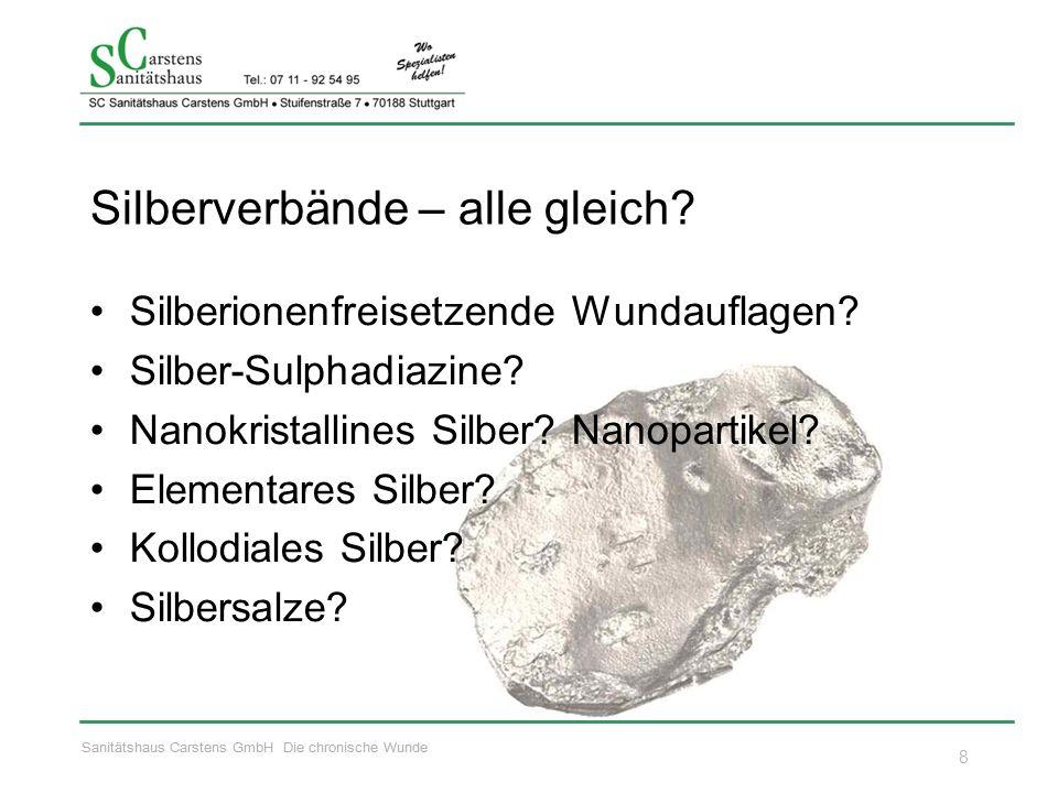 Sanitätshaus Carstens GmbH Die chronische Wunde Silberverbände – alle gleich? Silberionenfreisetzende Wundauflagen? Silber-Sulphadiazine? Nanokristall