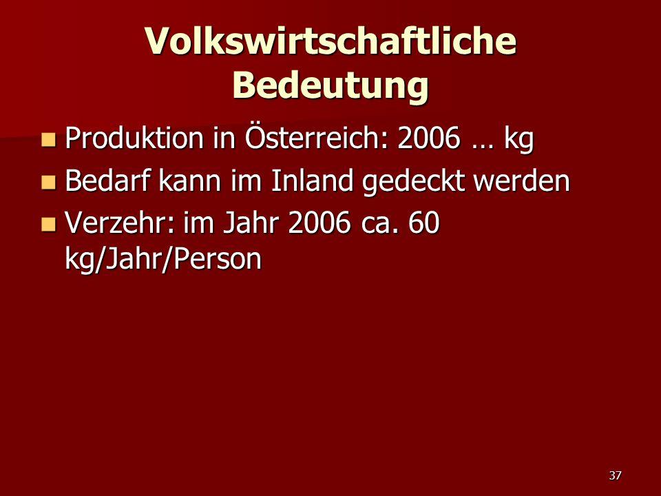 37 Volkswirtschaftliche Bedeutung Produktion in Österreich: 2006 … kg Produktion in Österreich: 2006 … kg Bedarf kann im Inland gedeckt werden Bedarf kann im Inland gedeckt werden Verzehr: im Jahr 2006 ca.