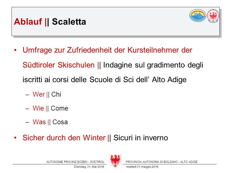 AUTONOME PROVINZ BOZEN - SÜDTIROLPROVINCIA AUTONOMA DI BOLZANO - ALTO ADIGE Dienstag, 31.