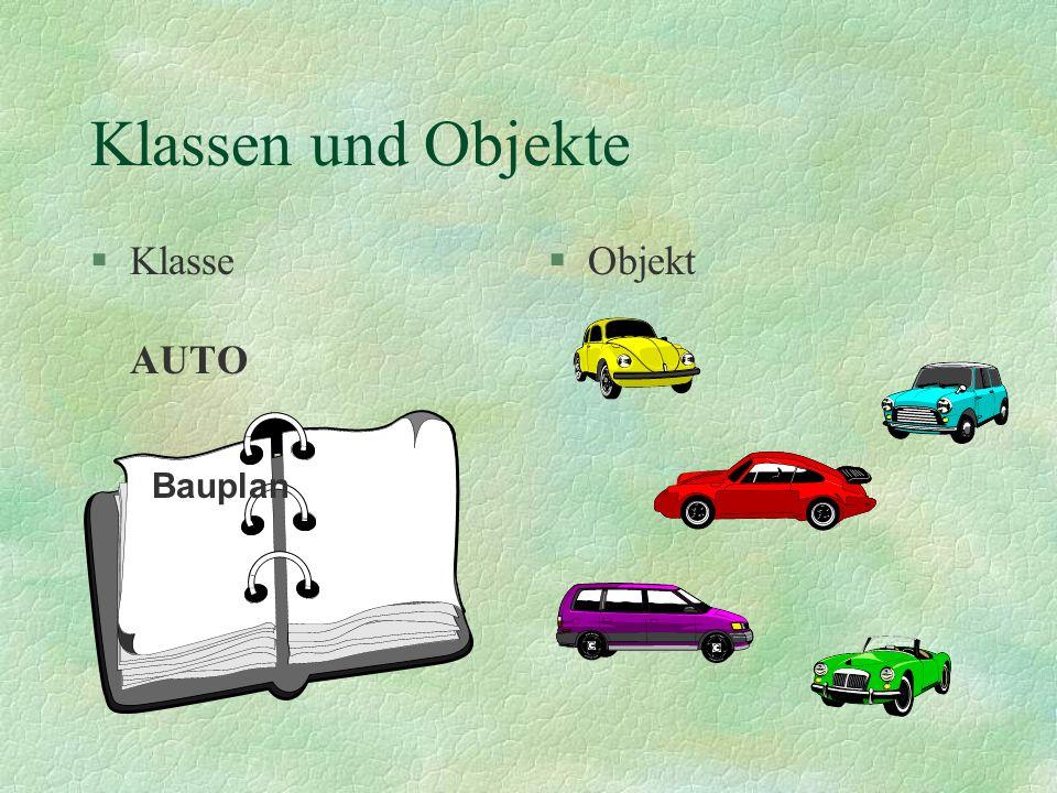 Klassen und Objekte §Eine Klasse ist eine Beschreibung oder ein Bauplan nach dem §das Objekt hergestellt wird.