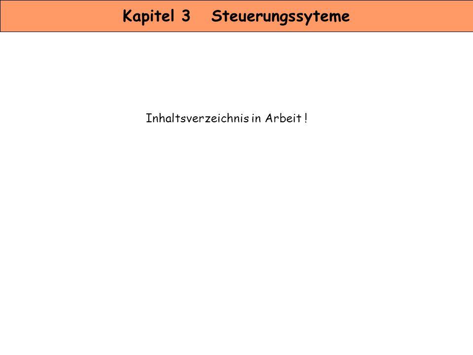 Kapitel 3 Steuerungssyteme Inhaltsverzeichnis in Arbeit !