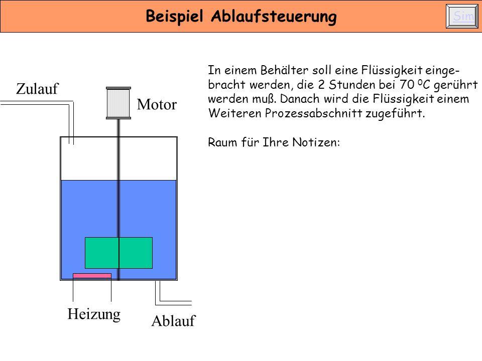 Zulauf Ablauf Motor Heizung Beispiel Ablaufsteuerung In einem Behälter soll eine Flüssigkeit einge- bracht werden, die 2 Stunden bei 70 0 C gerührt we