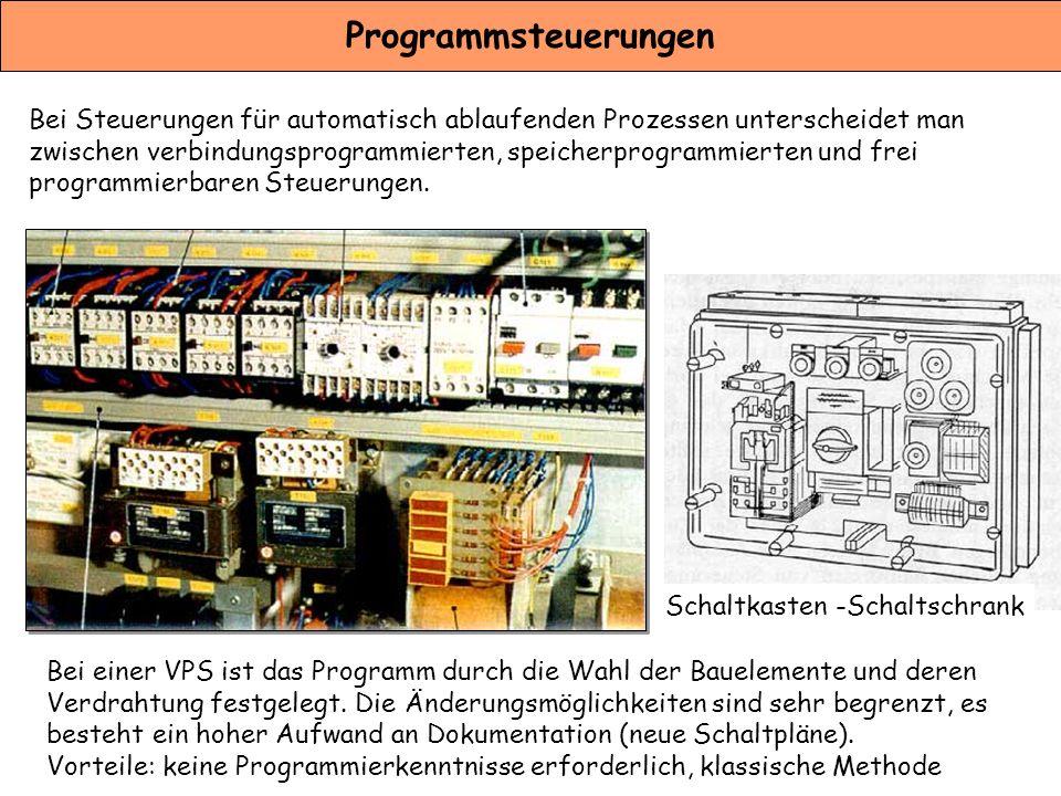 Programmsteuerungen Bei Steuerungen für automatisch ablaufenden Prozessen unterscheidet man zwischen verbindungsprogrammierten, speicherprogrammierten