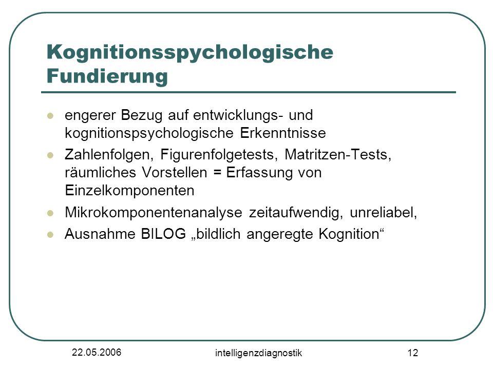 22.05.2006 intelligenzdiagnostik 12 Kognitionsspychologische Fundierung engerer Bezug auf entwicklungs- und kognitionspsychologische Erkenntnisse Zahl