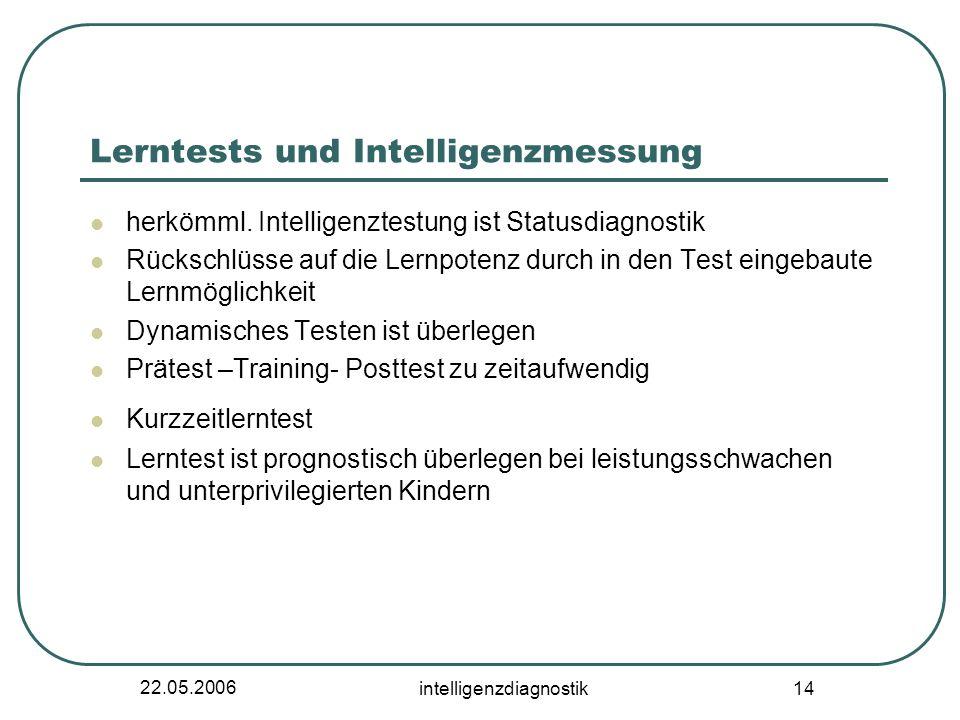 22.05.2006 intelligenzdiagnostik 14 Lerntests und Intelligenzmessung herkömml. Intelligenztestung ist Statusdiagnostik Rückschlüsse auf die Lernpotenz