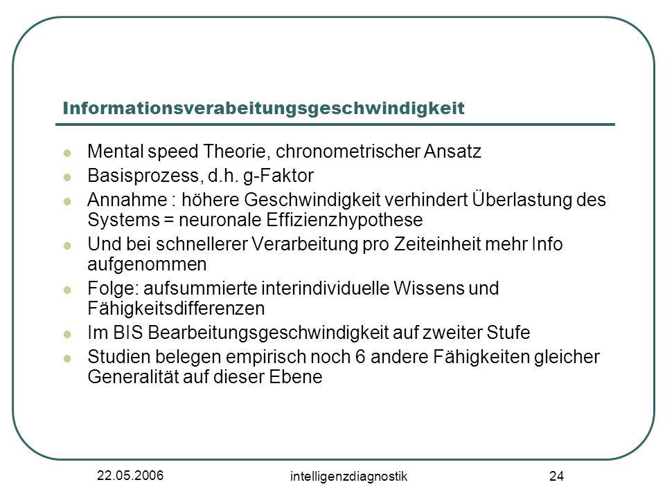 22.05.2006 intelligenzdiagnostik 24 Informationsverabeitungsgeschwindigkeit Mental speed Theorie, chronometrischer Ansatz Basisprozess, d.h.