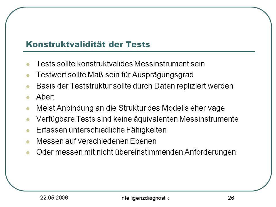 22.05.2006 intelligenzdiagnostik 26 Konstruktvalidität der Tests Tests sollte konstruktvalides Messinstrument sein Testwert sollte Maß sein für Ausprä