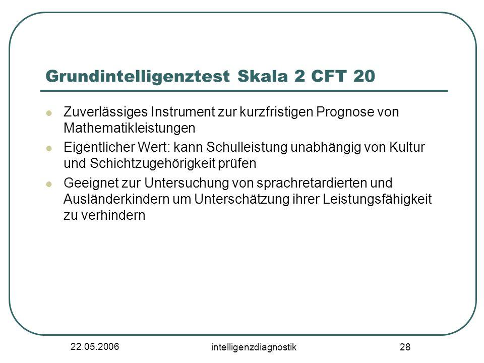 22.05.2006 intelligenzdiagnostik 28 Grundintelligenztest Skala 2 CFT 20 Zuverlässiges Instrument zur kurzfristigen Prognose von Mathematikleistungen E