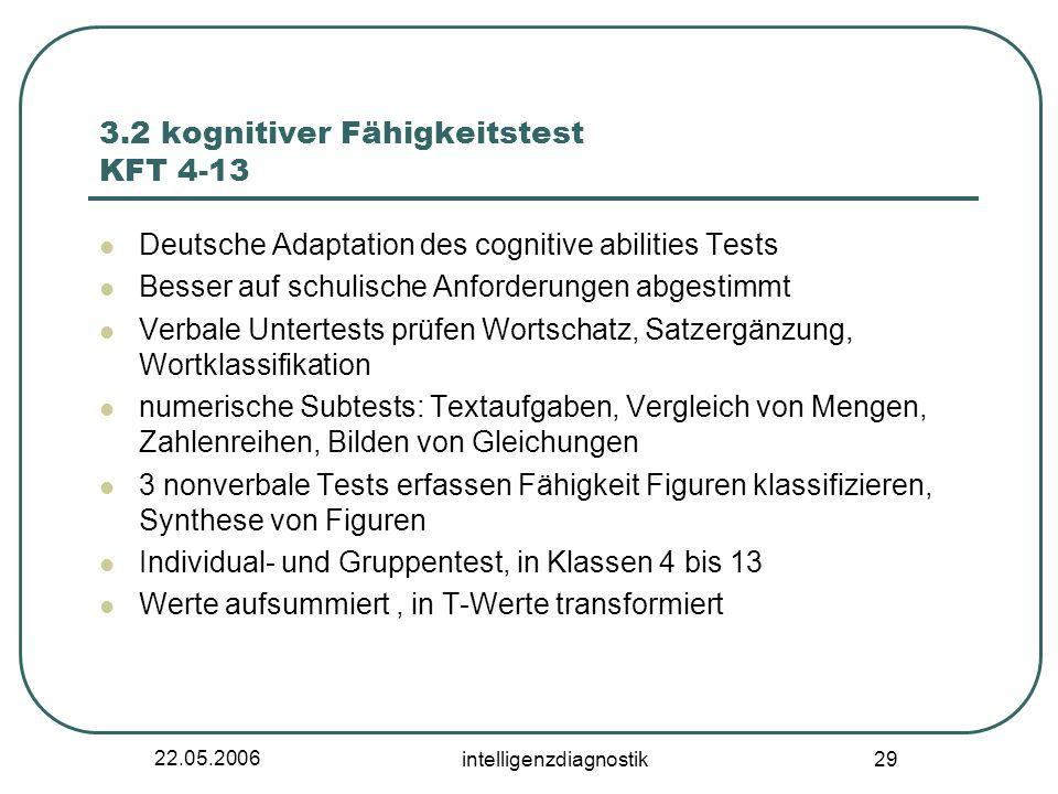 22.05.2006 intelligenzdiagnostik 29 3.2 kognitiver Fähigkeitstest KFT 4-13 Deutsche Adaptation des cognitive abilities Tests Besser auf schulische Anf