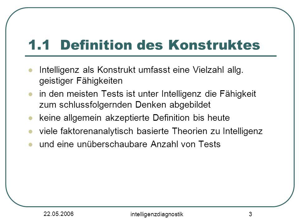 22.05.2006 intelligenzdiagnostik 3 1.1 Definition des Konstruktes Intelligenz als Konstrukt umfasst eine Vielzahl allg. geistiger Fähigkeiten in den m