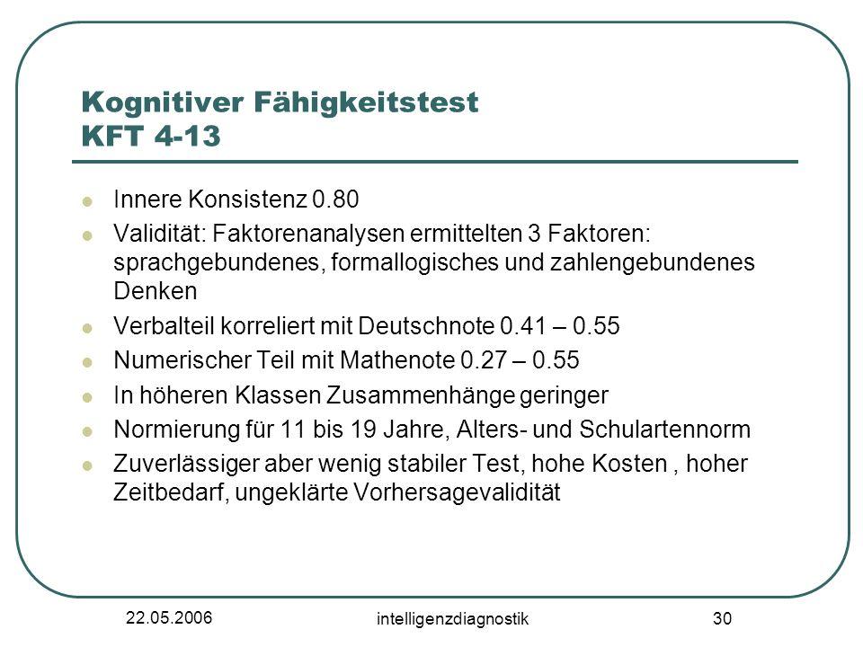 22.05.2006 intelligenzdiagnostik 30 Kognitiver Fähigkeitstest KFT 4-13 Innere Konsistenz 0.80 Validität: Faktorenanalysen ermittelten 3 Faktoren: spra