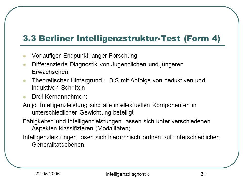 22.05.2006 intelligenzdiagnostik 31 3.3 Berliner Intelligenzstruktur-Test (Form 4) Vorläufiger Endpunkt langer Forschung Differenzierte Diagnostik von