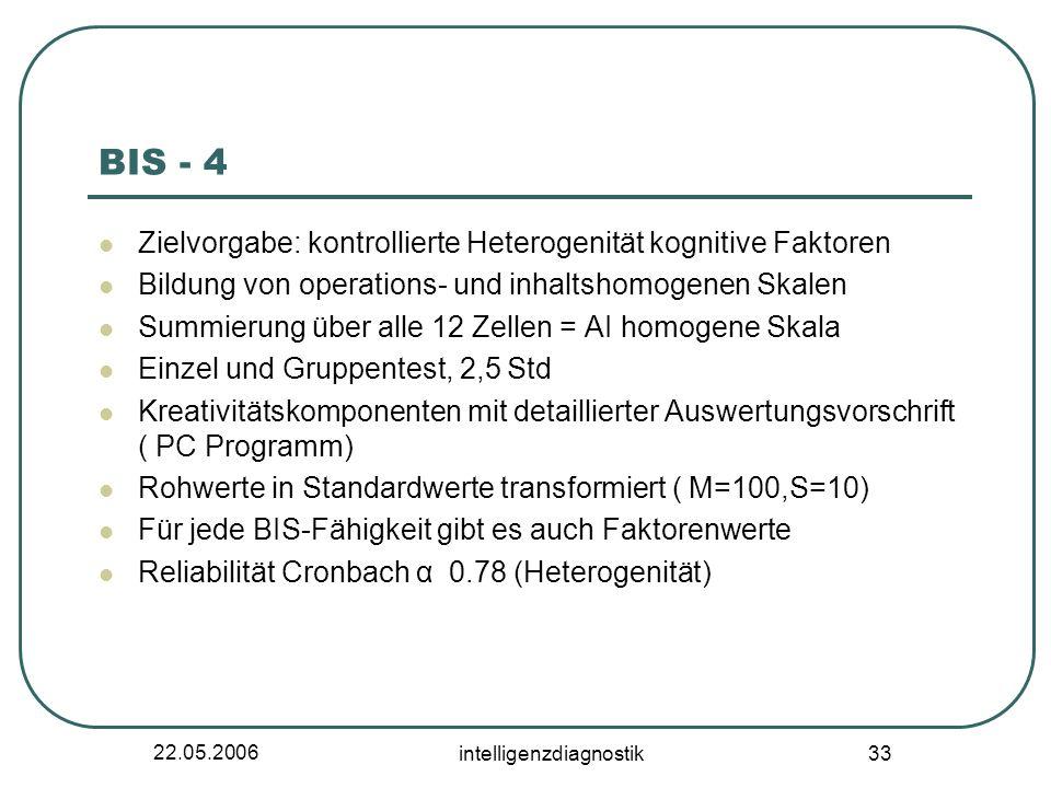 22.05.2006 intelligenzdiagnostik 33 BIS - 4 Zielvorgabe: kontrollierte Heterogenität kognitive Faktoren Bildung von operations- und inhaltshomogenen S