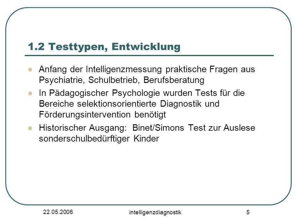 22.05.2006 intelligenzdiagnostik 5 1.2 Testtypen, Entwicklung Anfang der Intelligenzmessung praktische Fragen aus Psychiatrie, Schulbetrieb, Berufsber
