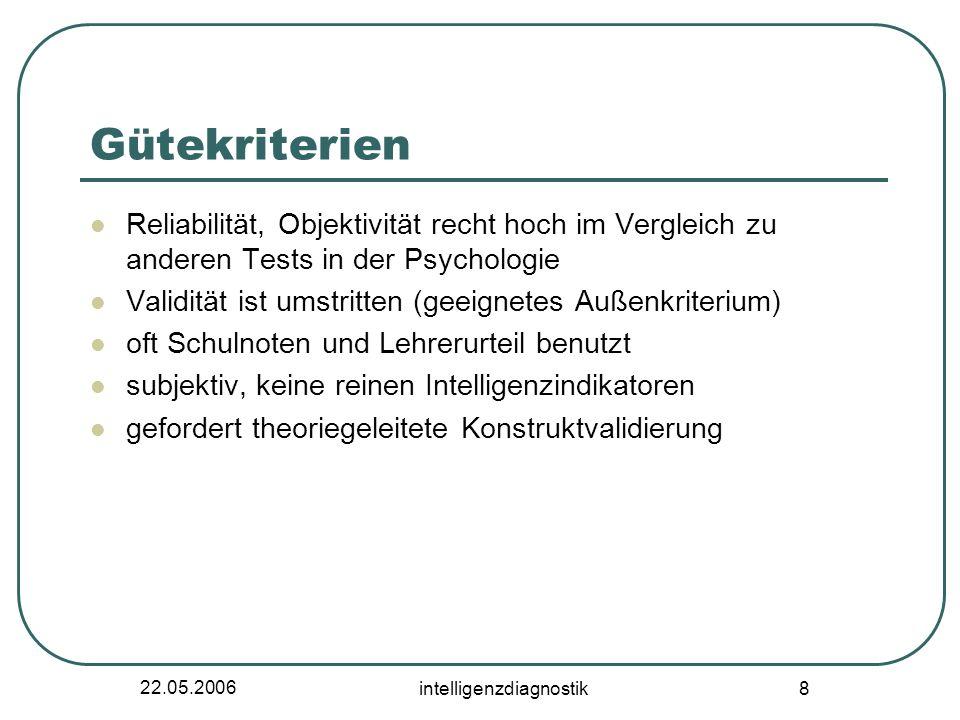 22.05.2006 intelligenzdiagnostik 8 Gütekriterien Reliabilität, Objektivität recht hoch im Vergleich zu anderen Tests in der Psychologie Validität ist