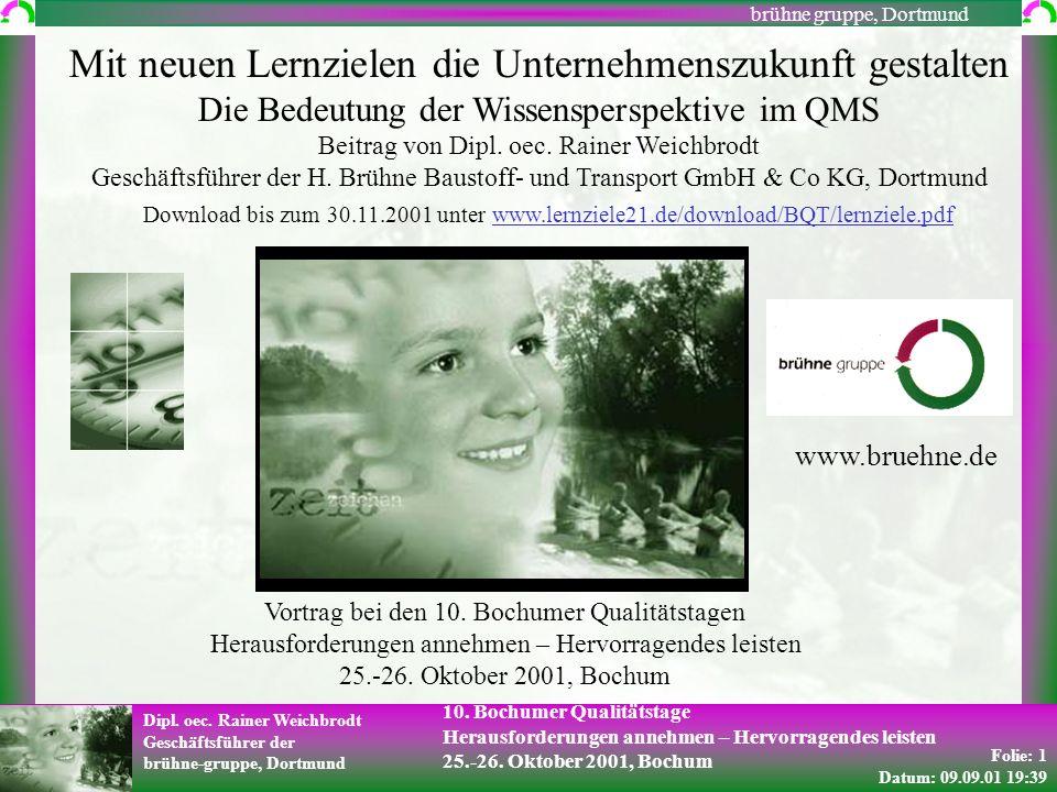 Folie: 1 Datum: 09.09.01 19:39 Dipl. oec. Rainer Weichbrodt Geschäftsführer der brühne-gruppe, Dortmund brühne gruppe, Dortmund 10. Bochumer Qualitäts