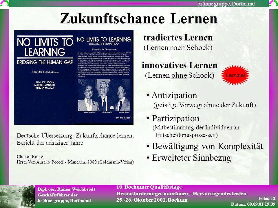 Folie: 12 Datum: 09.09.01 19:39 Dipl. oec. Rainer Weichbrodt Geschäftsführer der brühne-gruppe, Dortmund brühne gruppe, Dortmund 10. Bochumer Qualität