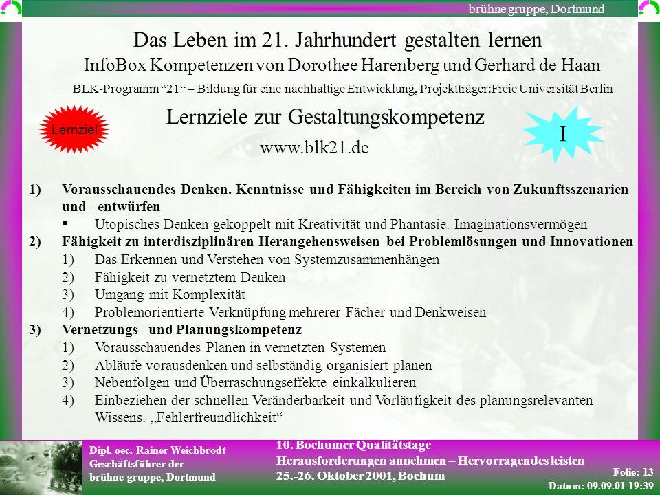 Folie: 13 Datum: 09.09.01 19:39 Dipl. oec. Rainer Weichbrodt Geschäftsführer der brühne-gruppe, Dortmund brühne gruppe, Dortmund 10. Bochumer Qualität