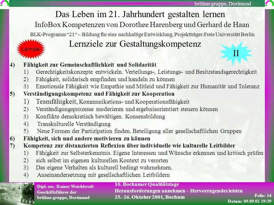 Folie: 14 Datum: 09.09.01 19:39 Dipl. oec. Rainer Weichbrodt Geschäftsführer der brühne-gruppe, Dortmund brühne gruppe, Dortmund 10. Bochumer Qualität