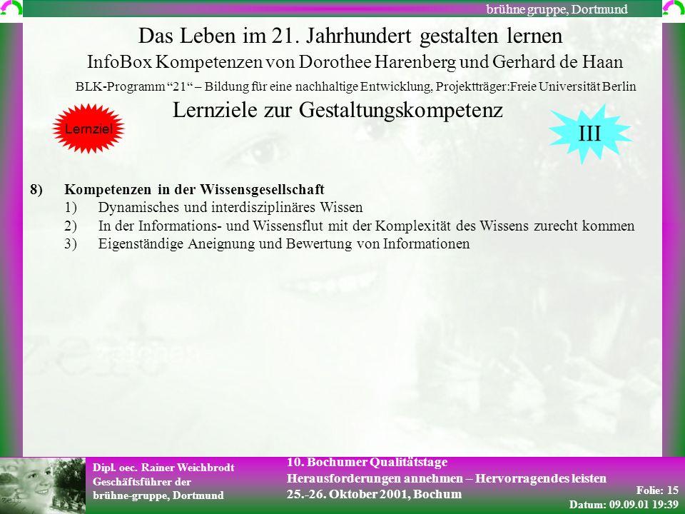 Folie: 15 Datum: 09.09.01 19:39 Dipl. oec. Rainer Weichbrodt Geschäftsführer der brühne-gruppe, Dortmund brühne gruppe, Dortmund 10. Bochumer Qualität