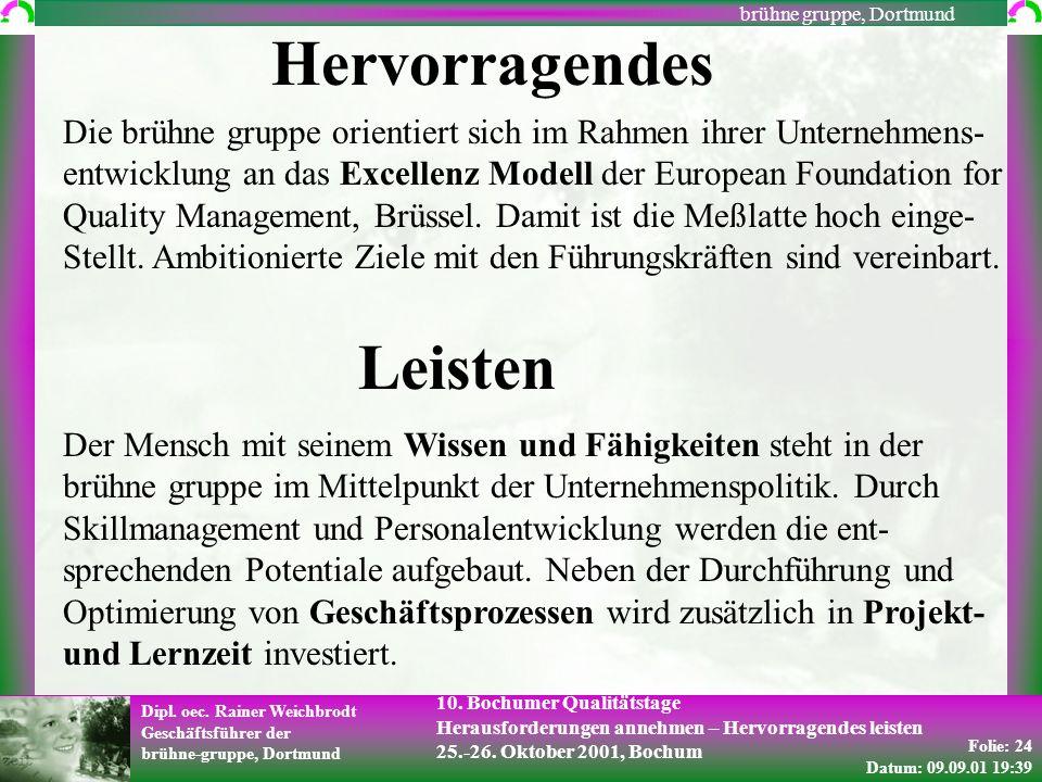 Folie: 24 Datum: 09.09.01 19:39 Dipl. oec. Rainer Weichbrodt Geschäftsführer der brühne-gruppe, Dortmund brühne gruppe, Dortmund 10. Bochumer Qualität
