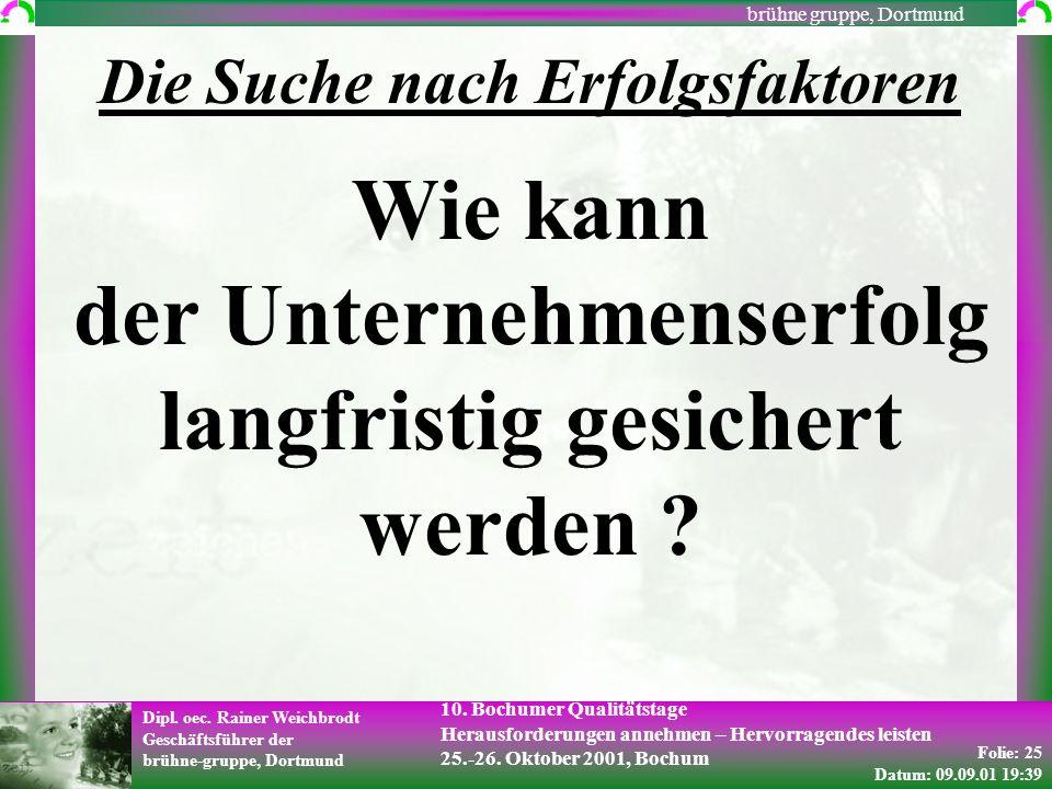 Folie: 25 Datum: 09.09.01 19:39 Dipl. oec. Rainer Weichbrodt Geschäftsführer der brühne-gruppe, Dortmund brühne gruppe, Dortmund 10. Bochumer Qualität