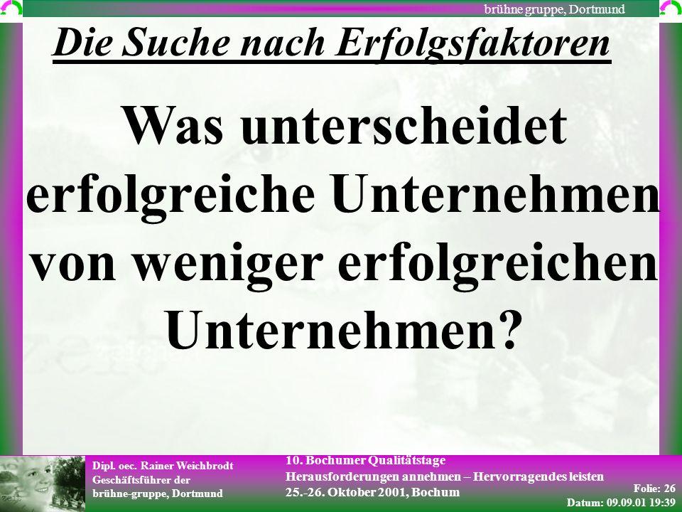 Folie: 26 Datum: 09.09.01 19:39 Dipl. oec. Rainer Weichbrodt Geschäftsführer der brühne-gruppe, Dortmund brühne gruppe, Dortmund 10. Bochumer Qualität