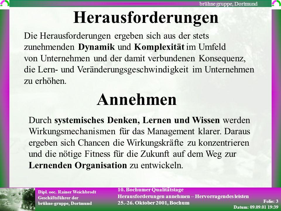 Folie: 3 Datum: 09.09.01 19:39 Dipl. oec. Rainer Weichbrodt Geschäftsführer der brühne-gruppe, Dortmund brühne gruppe, Dortmund 10. Bochumer Qualitäts