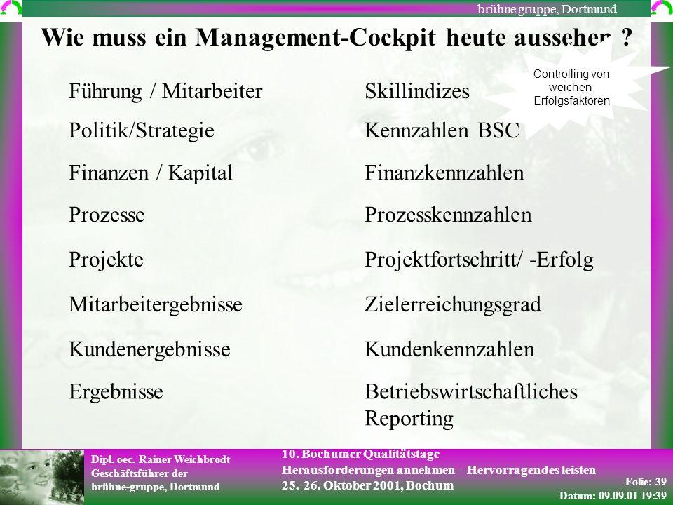 Folie: 39 Datum: 09.09.01 19:39 Dipl. oec. Rainer Weichbrodt Geschäftsführer der brühne-gruppe, Dortmund brühne gruppe, Dortmund 10. Bochumer Qualität