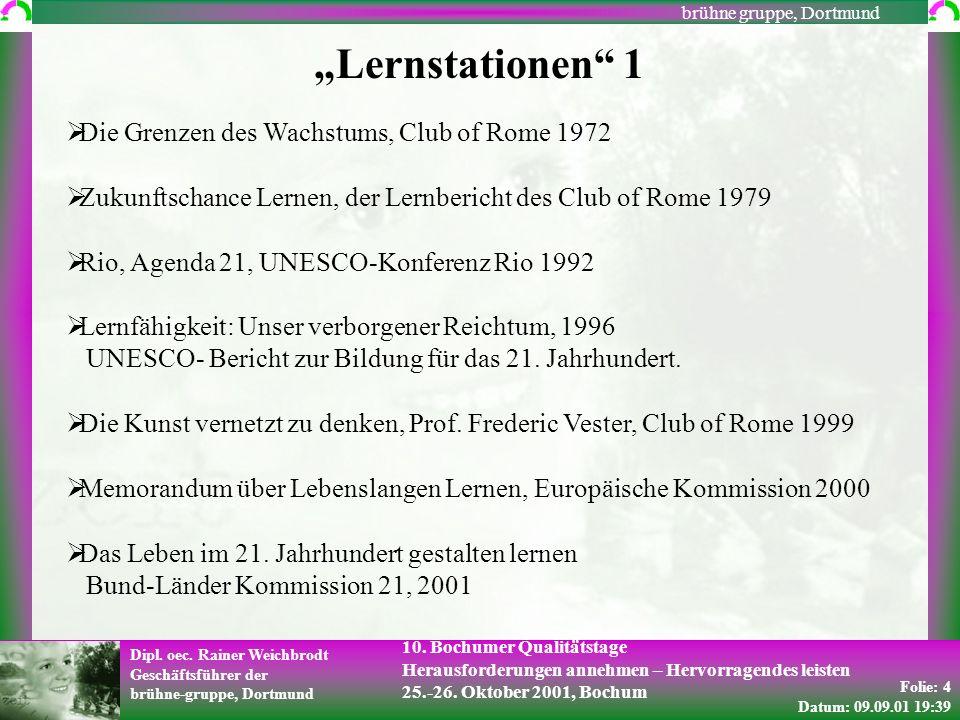 Folie: 4 Datum: 09.09.01 19:39 Dipl. oec. Rainer Weichbrodt Geschäftsführer der brühne-gruppe, Dortmund brühne gruppe, Dortmund 10. Bochumer Qualitäts