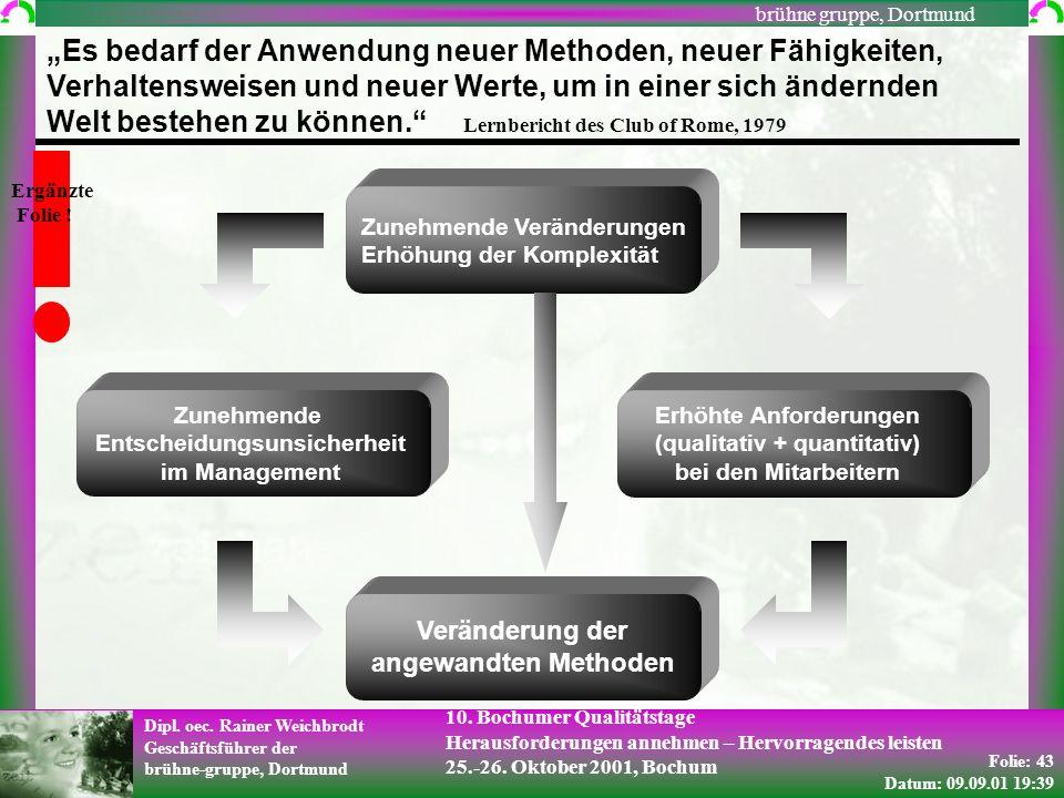 Folie: 43 Datum: 09.09.01 19:39 Dipl. oec. Rainer Weichbrodt Geschäftsführer der brühne-gruppe, Dortmund brühne gruppe, Dortmund 10. Bochumer Qualität