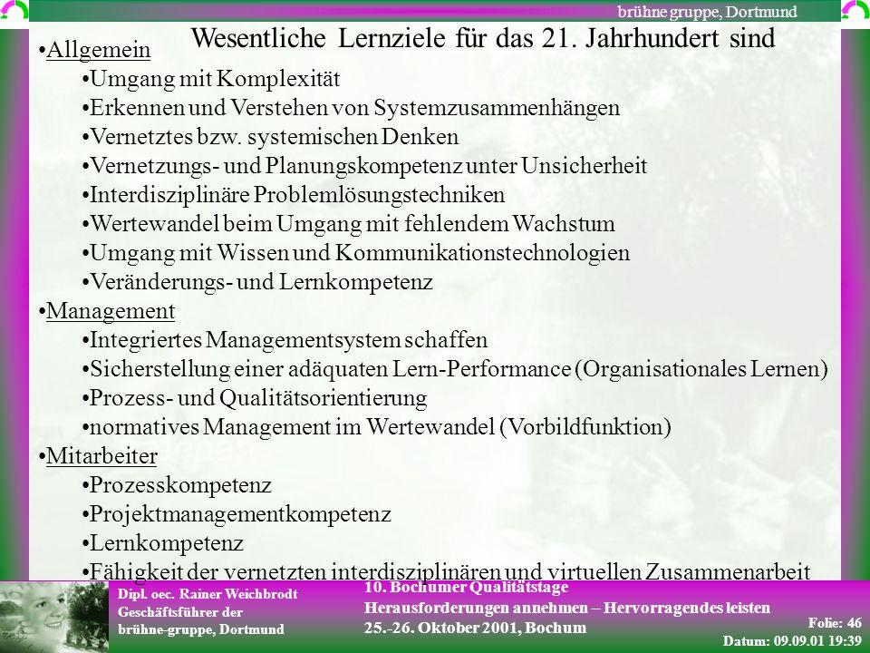 Folie: 46 Datum: 09.09.01 19:39 Dipl. oec. Rainer Weichbrodt Geschäftsführer der brühne-gruppe, Dortmund brühne gruppe, Dortmund 10. Bochumer Qualität