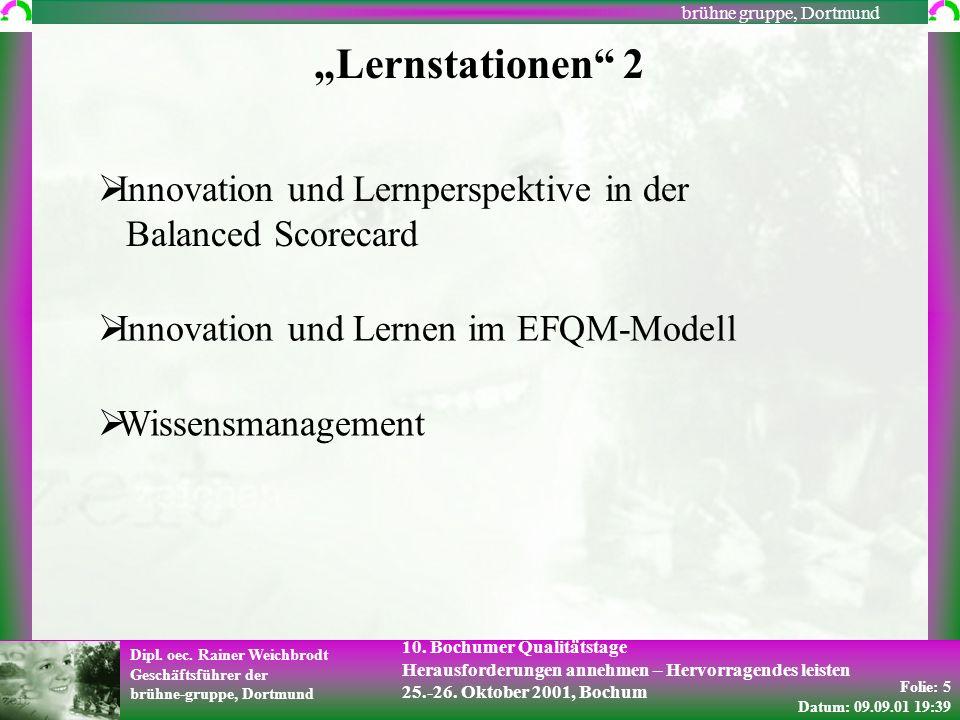 Folie: 5 Datum: 09.09.01 19:39 Dipl. oec. Rainer Weichbrodt Geschäftsführer der brühne-gruppe, Dortmund brühne gruppe, Dortmund 10. Bochumer Qualitäts