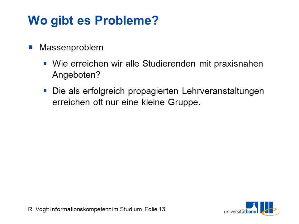R. Vogt: Informationskompetenz im Studium, Folie 13 Wo gibt es Probleme?  Massenproblem  Wie erreichen wir alle Studierenden mit praxisnahen Angebot