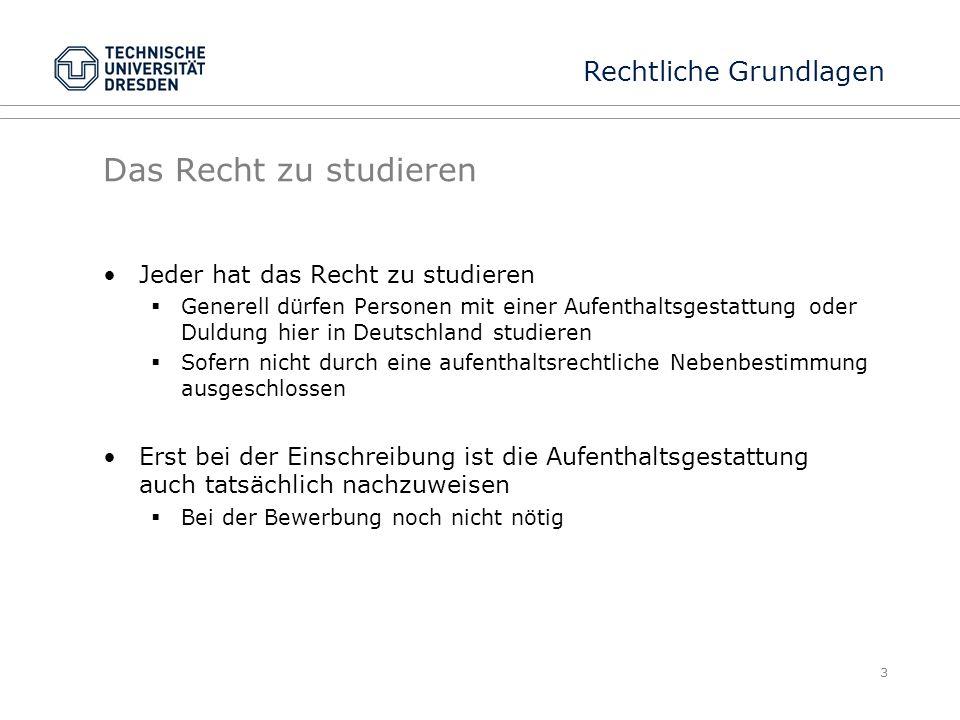 Das Recht zu studieren Jeder hat das Recht zu studieren  Generell dürfen Personen mit einer Aufenthaltsgestattung oder Duldung hier in Deutschland st