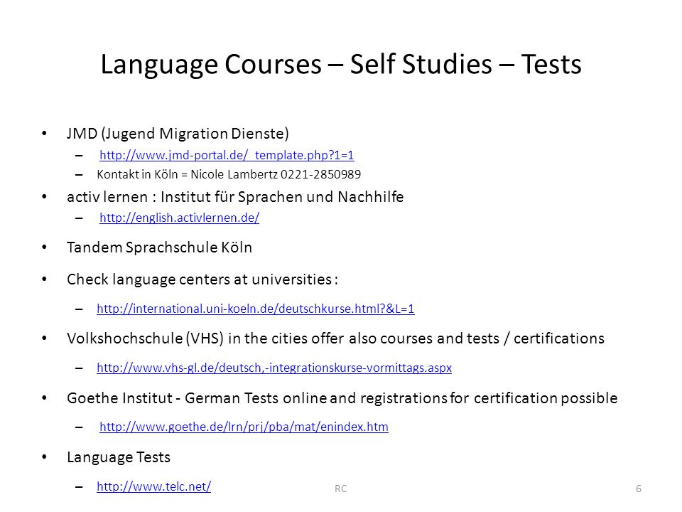 Language Courses – Self Studies – Tests JMD (Jugend Migration Dienste) – http://www.jmd-portal.de/_template.php?1=1http://www.jmd-portal.de/_template.