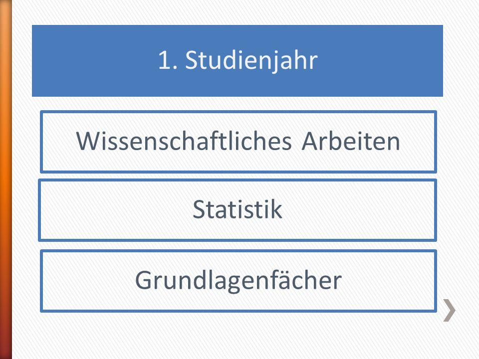 1. Studienjahr Wissenschaftliches Arbeiten Statistik Grundlagenfächer