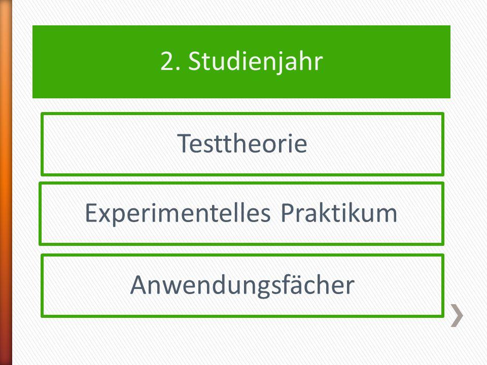 2. Studienjahr Testtheorie Experimentelles Praktikum Anwendungsfächer