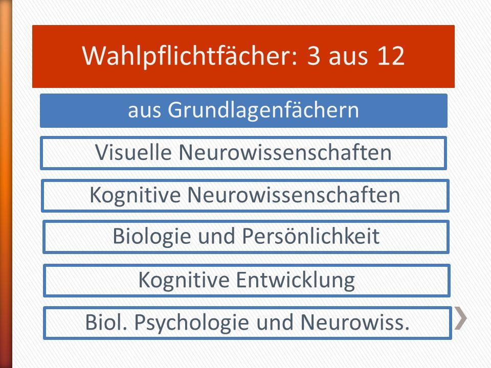Wahlpflichtfächer: 3 aus 12 Visuelle Neurowissenschaften Kognitive Neurowissenschaften Biologie und Persönlichkeit Kognitive Entwicklung aus Grundlagenfächern Biol.