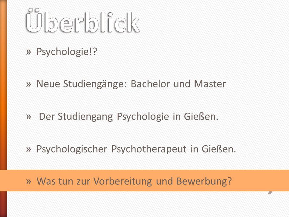 » Psychologie!. » Neue Studiengänge: Bachelor und Master » Der Studiengang Psychologie in Gießen.