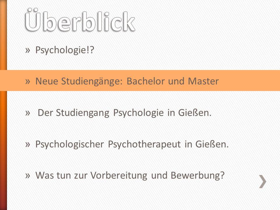 altneu Gießen: seit WS07/08 Vordiplom (4 Semester) Bachelor (6 Semester) Diplom (+5/6 Semester) Master (+4 Semester) Beruf