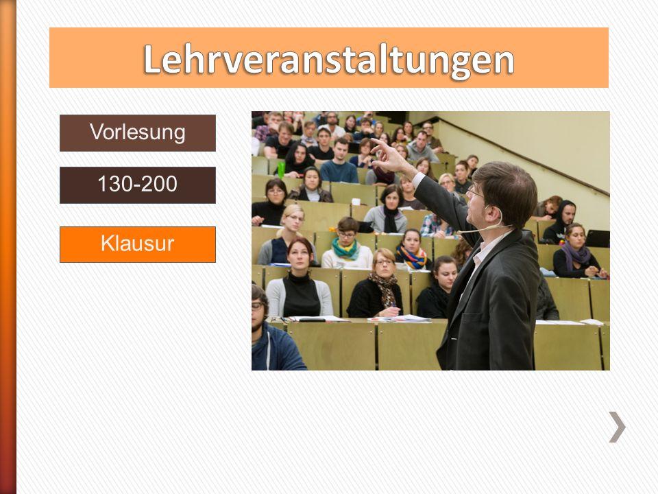 Übung Seminar 30 Vorlesung 130-200 keineKlausur