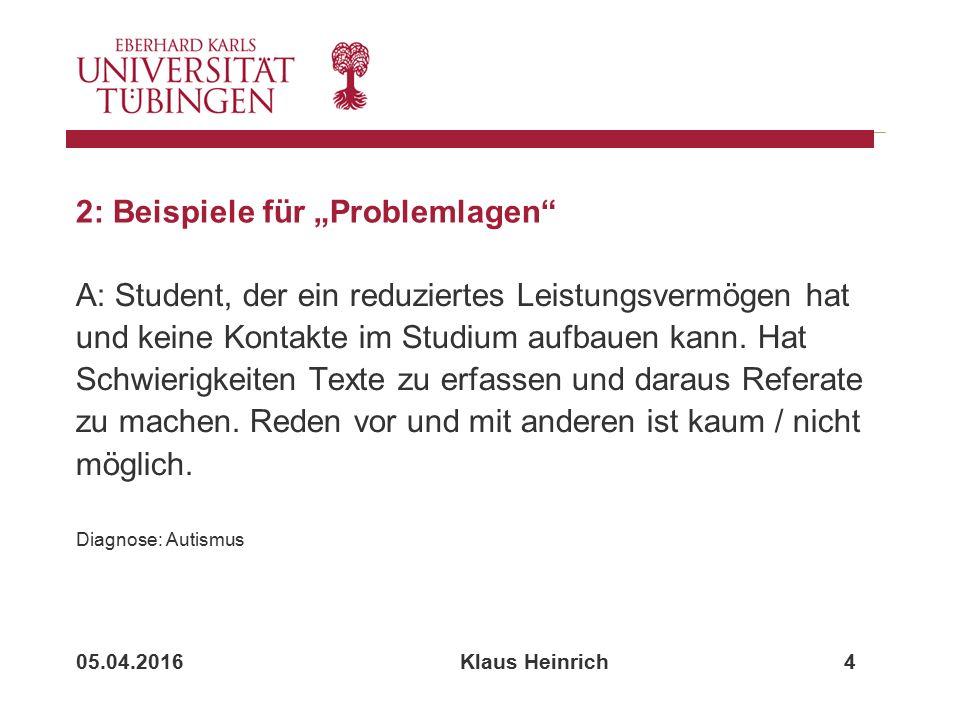 """05.04.2016 Klaus Heinrich 4 2: Beispiele für """"Problemlagen A: Student, der ein reduziertes Leistungsvermögen hat und keine Kontakte im Studium aufbauen kann."""